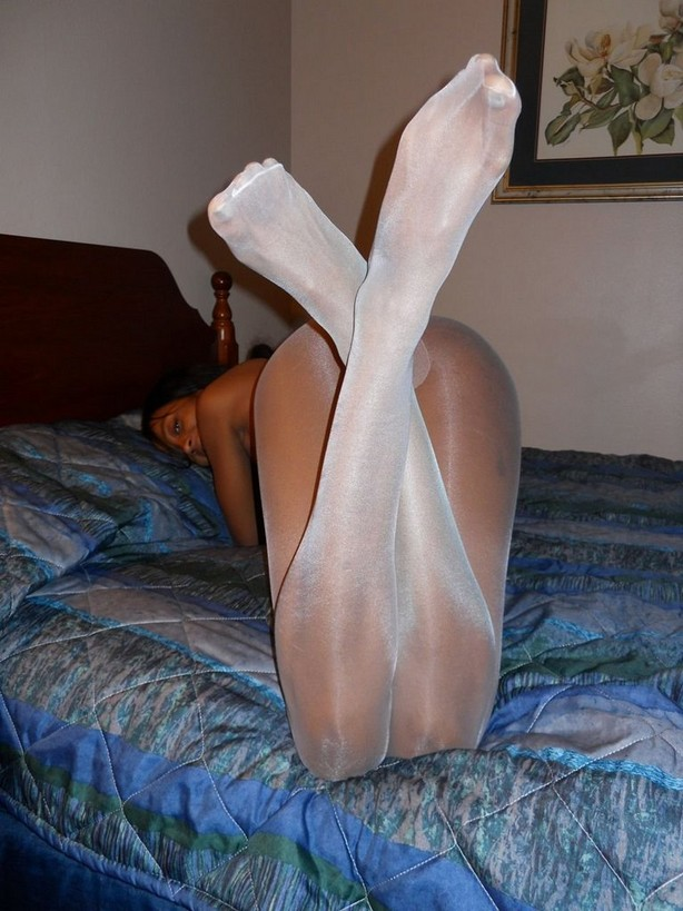Crotchless pantyhose nylon jane